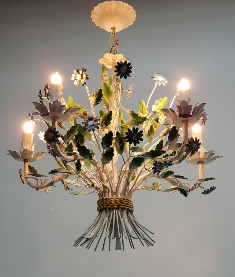Midcentury French Painted Iron and Tole Chandelier with Flowers For Sale 4