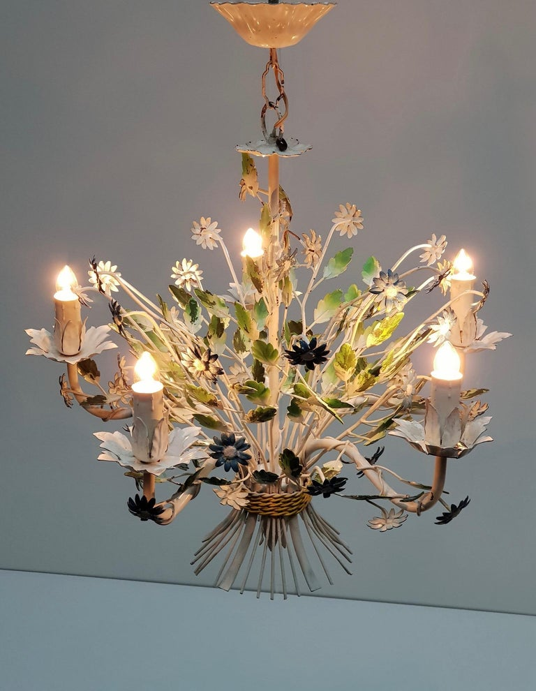 Hollywood Regency Midcentury French Painted Iron and Tole Chandelier with Flowers For Sale