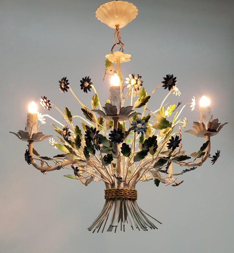 20th Century Midcentury French Painted Iron and Tole Chandelier with Flowers For Sale