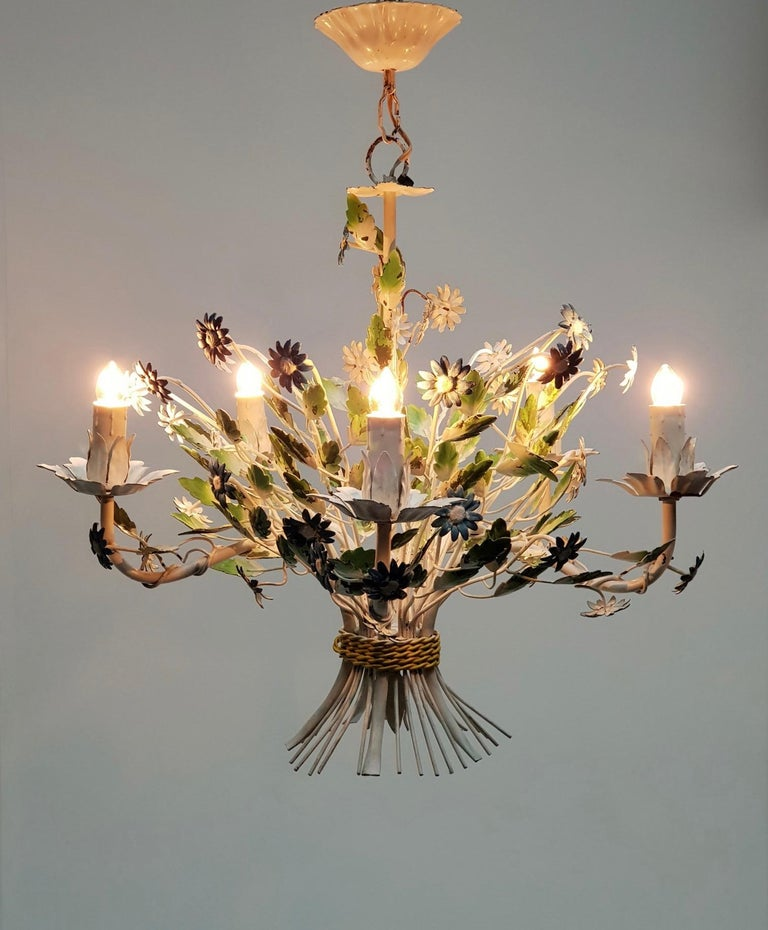 Metal Midcentury French Painted Iron and Tole Chandelier with Flowers For Sale