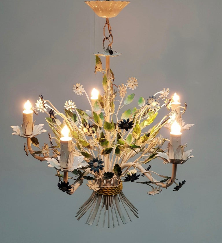 Midcentury French Painted Iron and Tole Chandelier with Flowers For Sale 1