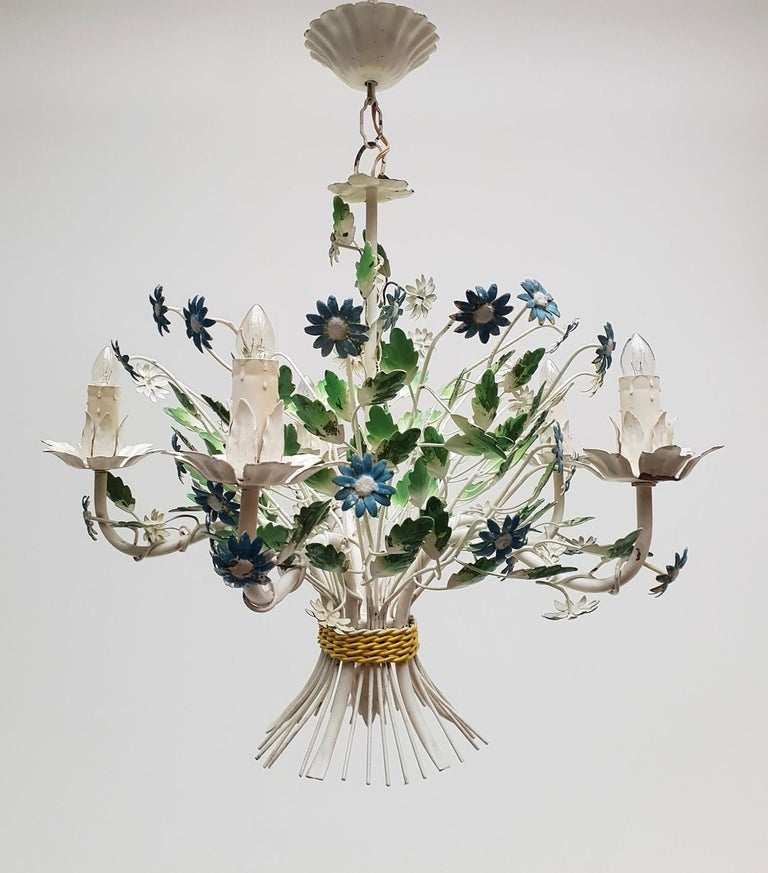 Midcentury French Painted Iron and Tole Chandelier with Flowers For Sale 2