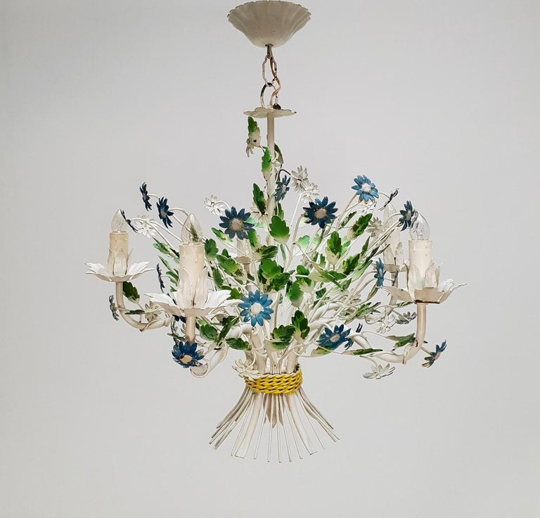 Midcentury French Painted Iron and Tole Chandelier with Flowers For Sale 3