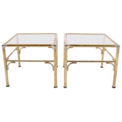 Midcentury French Pair of Gilt Metal Faux Bamboo Side Tables