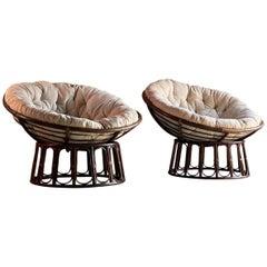 Midcentury French Papasan Lounge Chairs, circa 1970