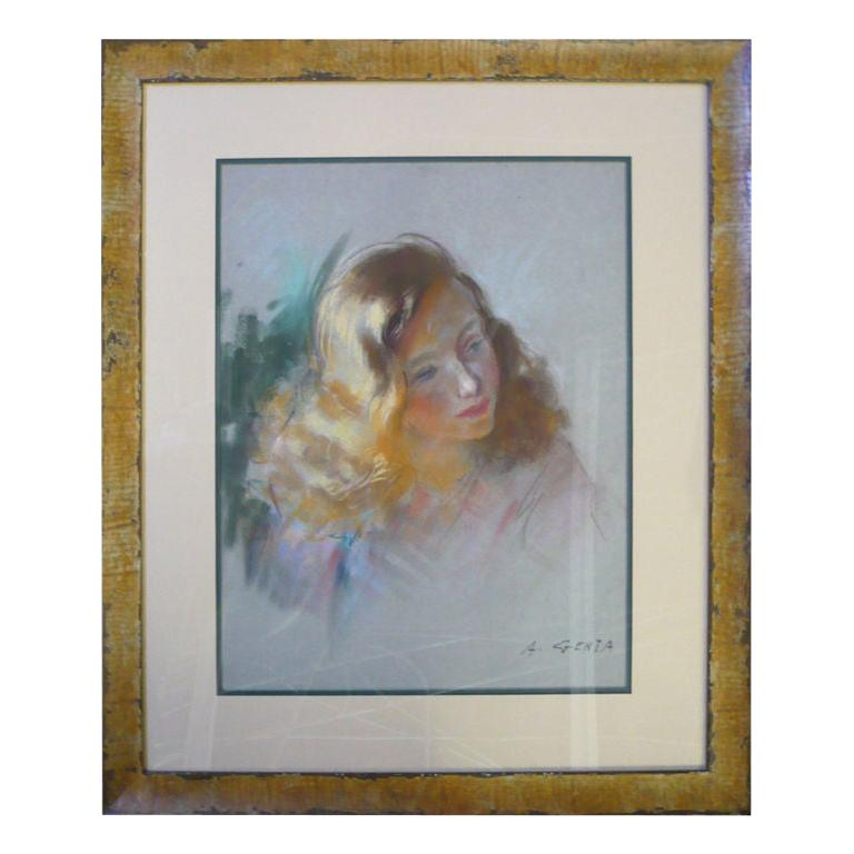 Midcentury French Pastel on Paper of a Young Girl Signed A. Genta