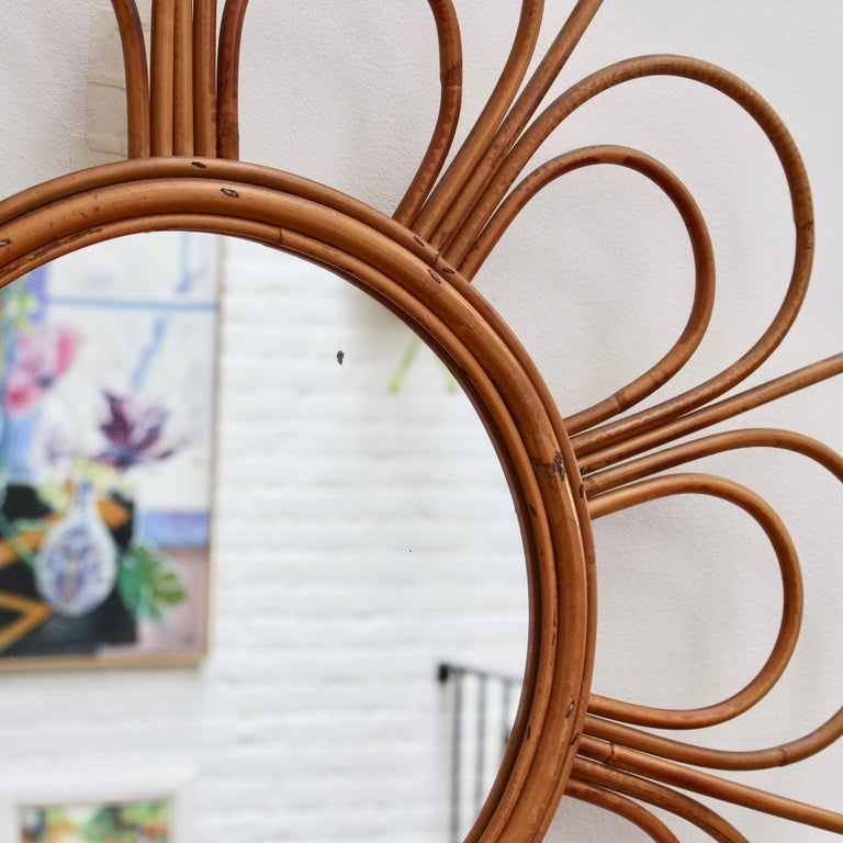 Midcentury French Rattan Flower-Shaped Wall Mirror, circa 1960s For Sale 5