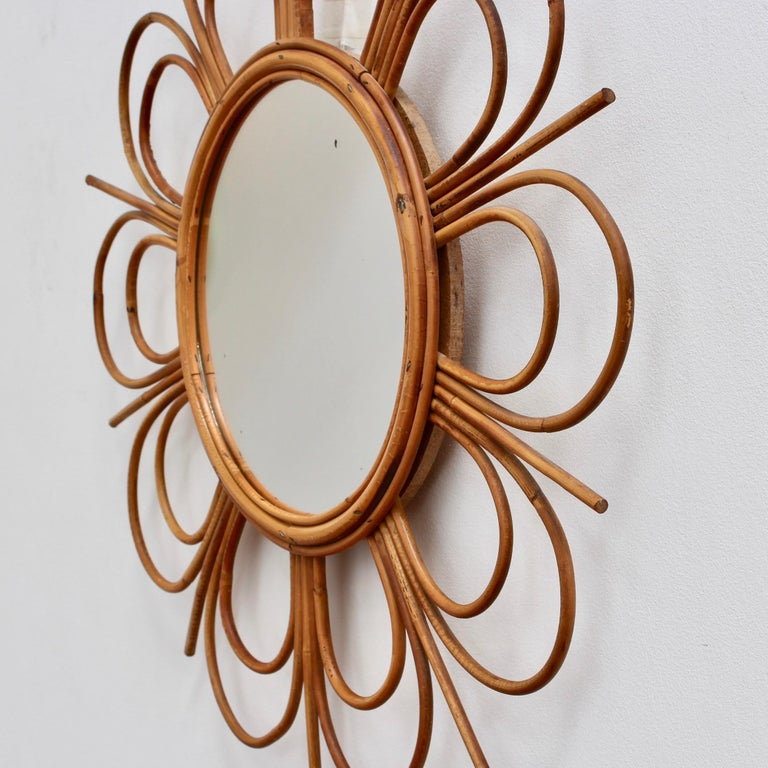 Midcentury French Rattan Flower-Shaped Wall Mirror, circa 1960s For Sale 7
