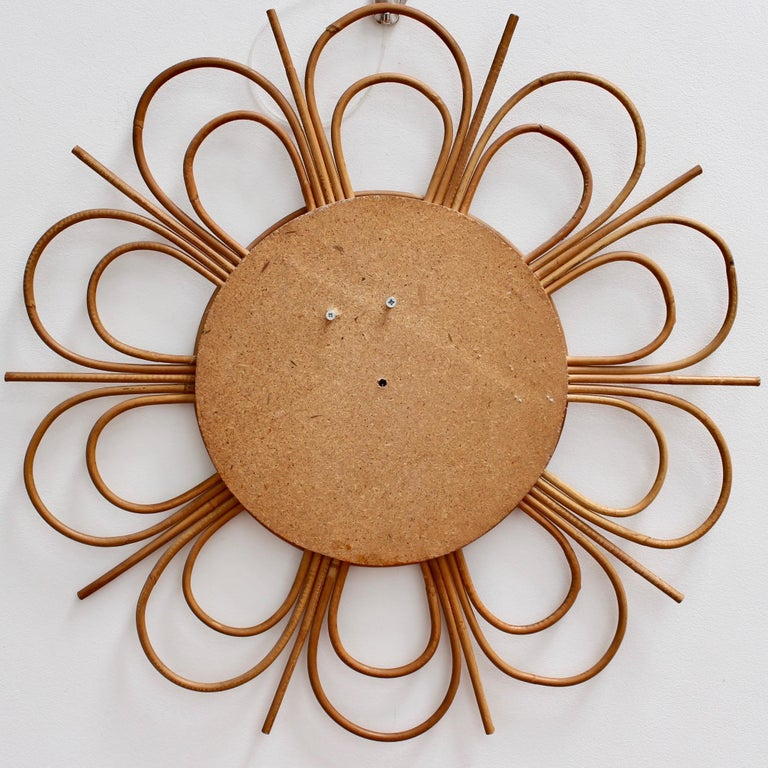 Midcentury French Rattan Flower-Shaped Wall Mirror, circa 1960s For Sale 8