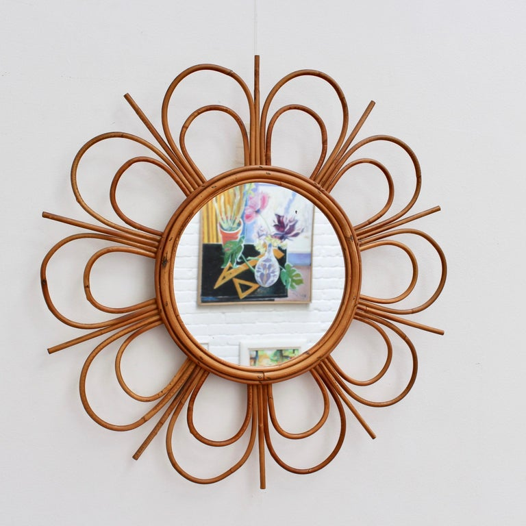 Mid-Century Modern Midcentury French Rattan Flower-Shaped Wall Mirror, circa 1960s For Sale