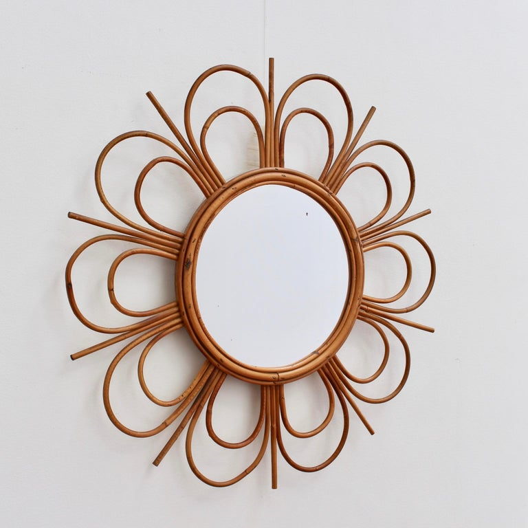 Mid-20th Century Midcentury French Rattan Flower-Shaped Wall Mirror, circa 1960s For Sale