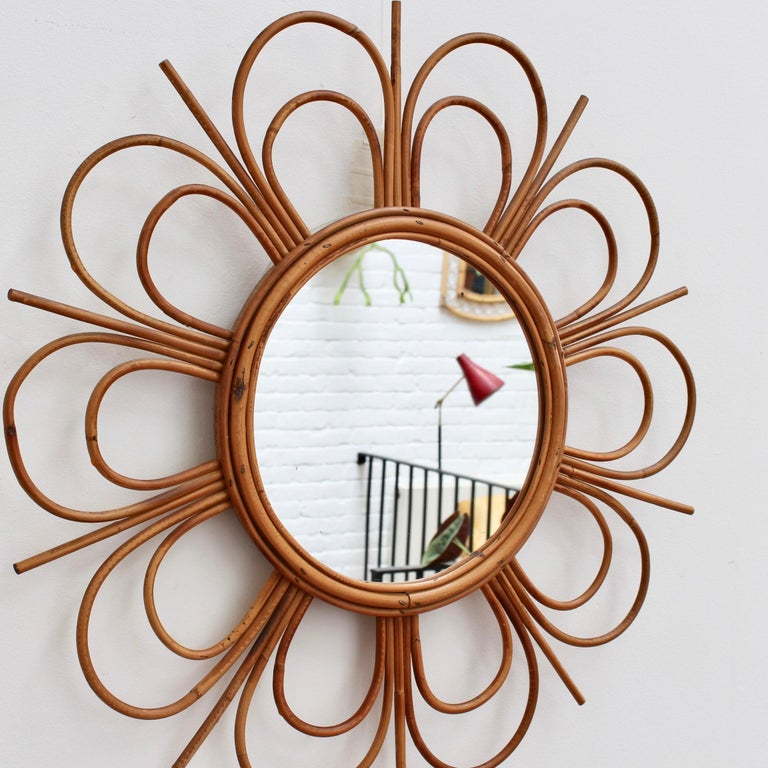 Midcentury French Rattan Flower-Shaped Wall Mirror, circa 1960s For Sale 1