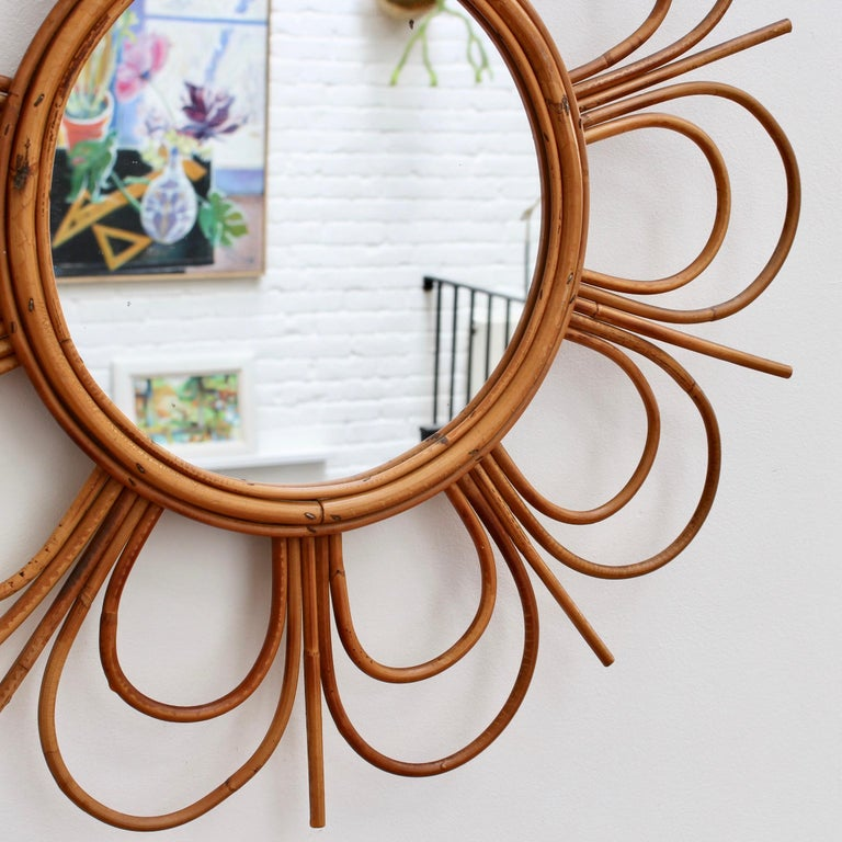 Midcentury French Rattan Flower-Shaped Wall Mirror, circa 1960s For Sale 2