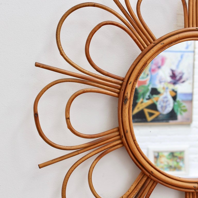 Midcentury French Rattan Flower-Shaped Wall Mirror, circa 1960s For Sale 3