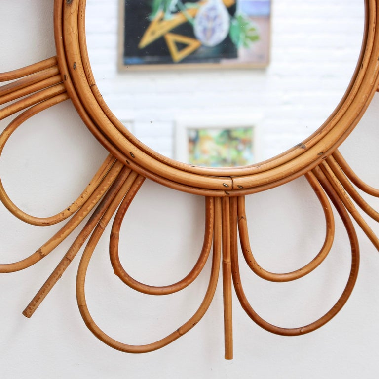 Midcentury French Rattan Flower-Shaped Wall Mirror, circa 1960s For Sale 4