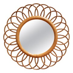 Midcentury French Rattan Flower-Shaped Wall Mirror, circa 1960s