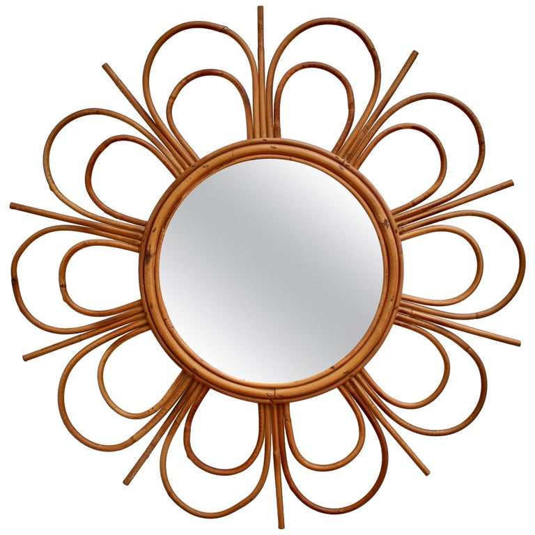 Midcentury French Rattan Flower-Shaped Wall Mirror, circa 1960s For Sale
