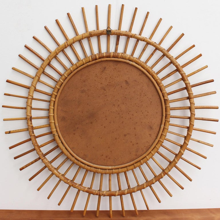 Midcentury French Rattan Sunburst Mirror 'circa 1960s', Large For Sale 5