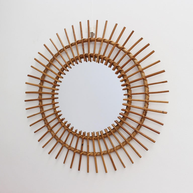 Mid-Century Modern Midcentury French Rattan Sunburst Mirror 'circa 1960s', Large For Sale