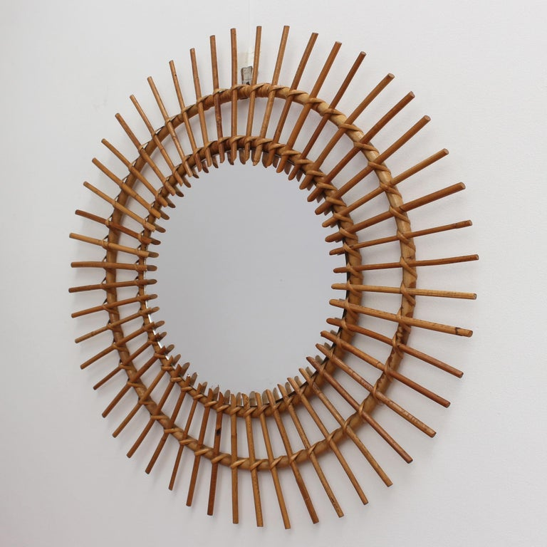 Midcentury French Rattan Sunburst Mirror 'circa 1960s', Large In Good Condition For Sale In London, GB