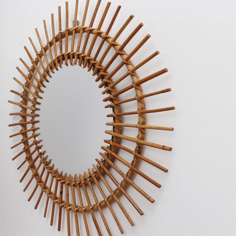 Mid-20th Century Midcentury French Rattan Sunburst Mirror 'circa 1960s', Large For Sale