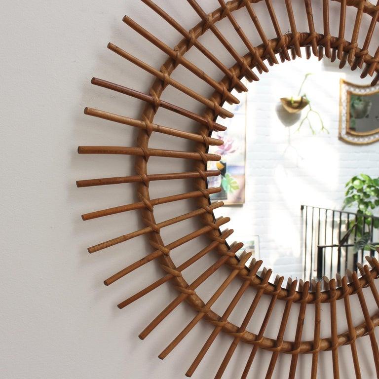 Midcentury French Rattan Sunburst Mirror 'circa 1960s', Large For Sale 3