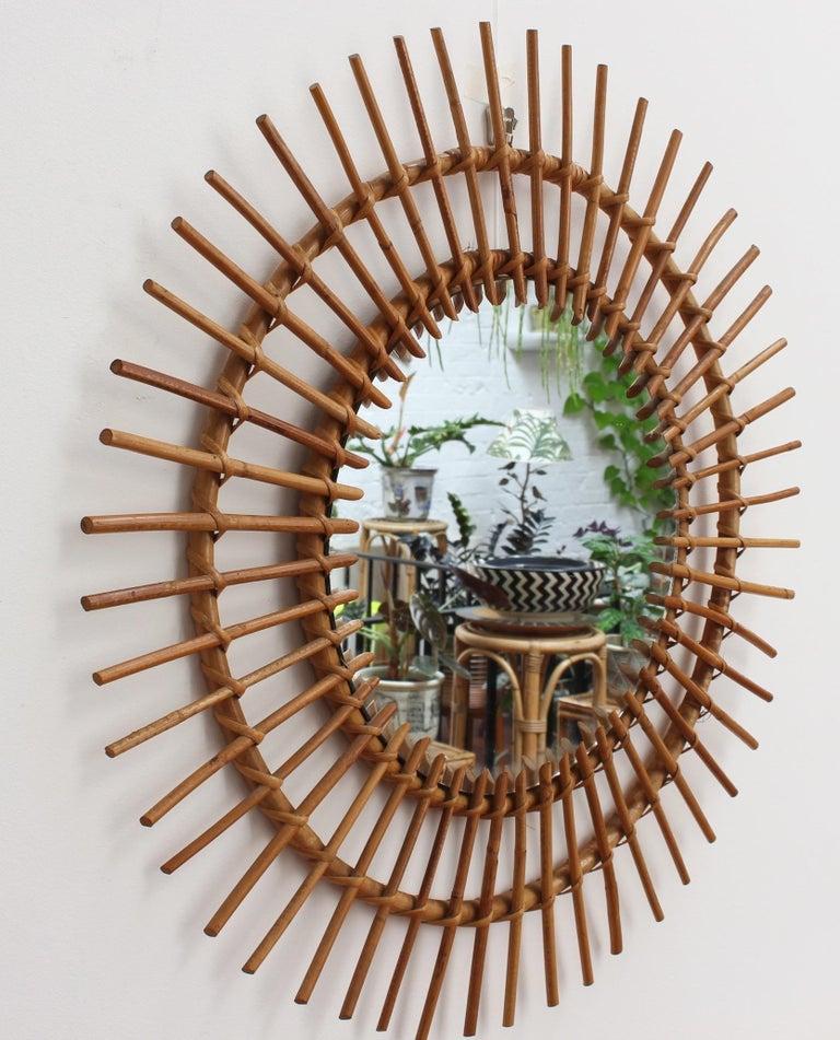 Midcentury French Rattan Sunburst Mirror 'circa 1960s', Large For Sale 4