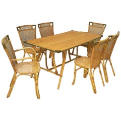 Mid-Century French Rattan Table and Chairs Set 'Attr. Louis Sognot'