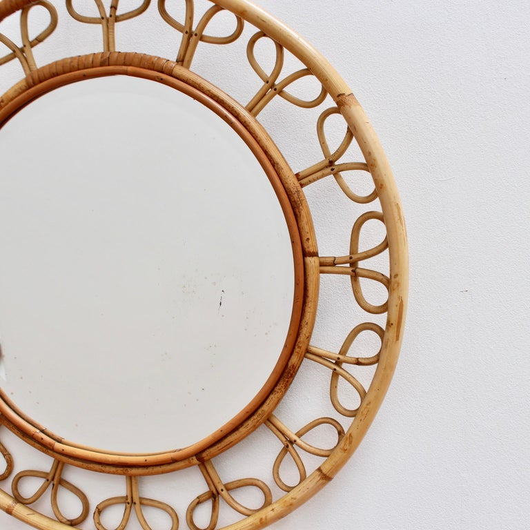 Midcentury French Rattan Wall Mirror, circa 1960s For Sale 6