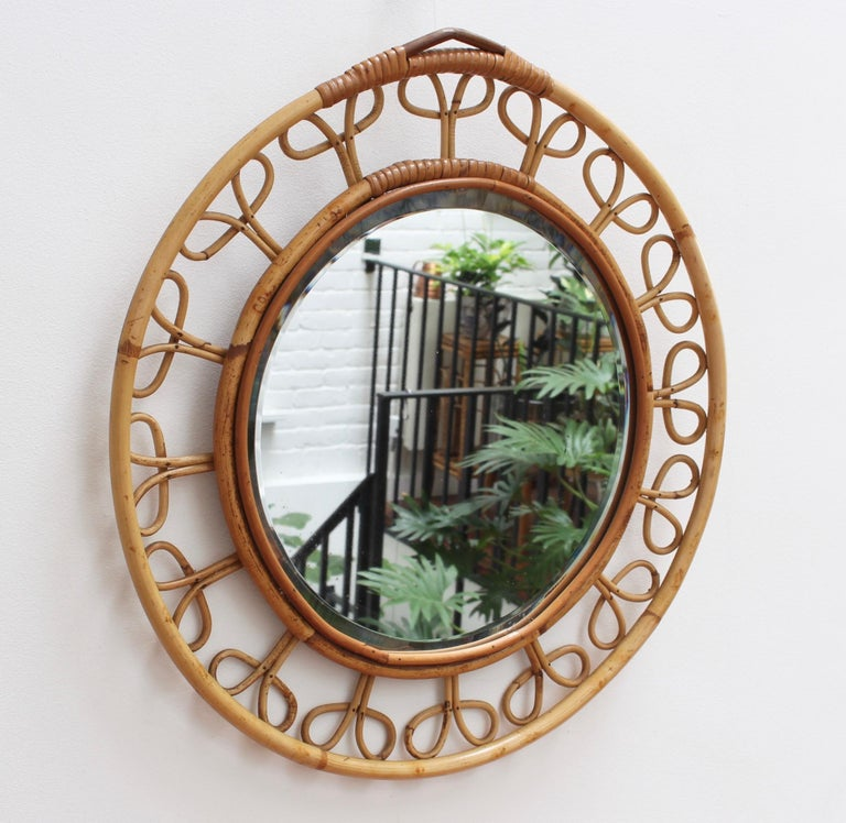 Midcentury French Rattan Wall Mirror, circa 1960s For Sale 7