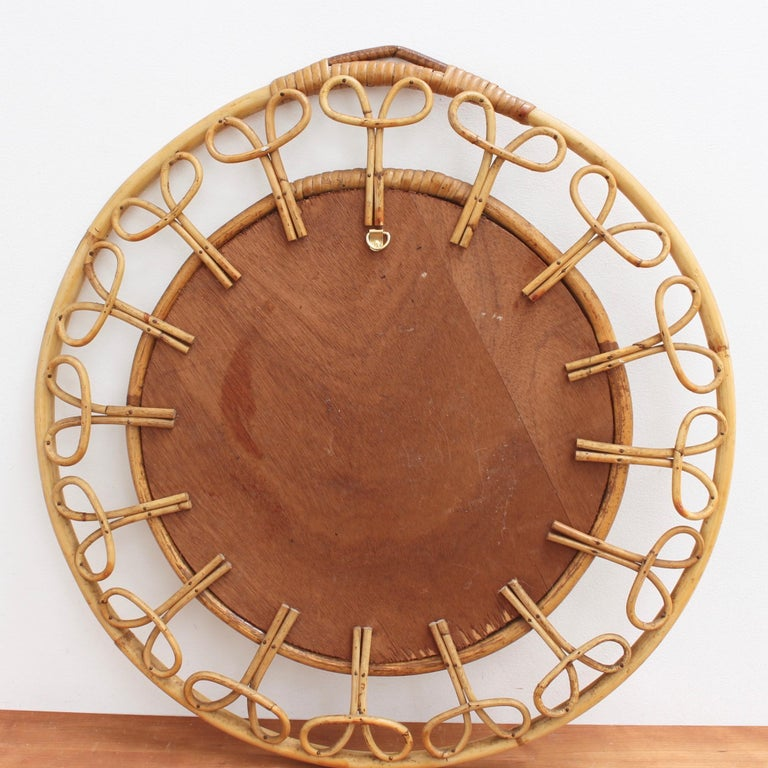 Midcentury French Rattan Wall Mirror, circa 1960s For Sale 8