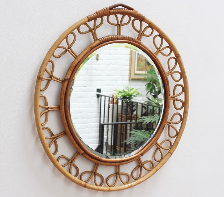 Mid-Century Modern Midcentury French Rattan Wall Mirror, circa 1960s For Sale