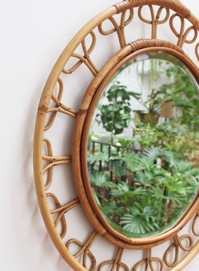 Midcentury French Rattan Wall Mirror, circa 1960s In Fair Condition For Sale In London, GB