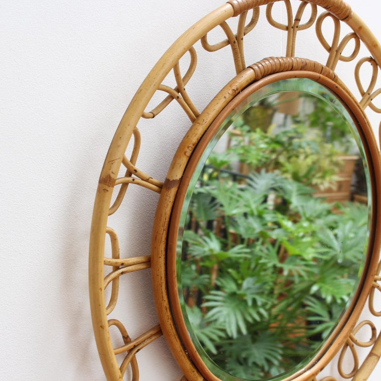 Mid-20th Century Midcentury French Rattan Wall Mirror, circa 1960s For Sale