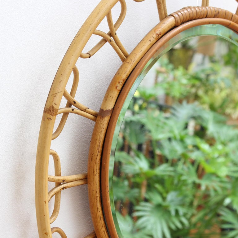 Midcentury French Rattan Wall Mirror, circa 1960s For Sale 1