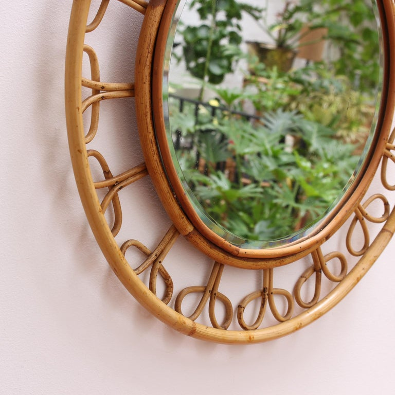 Midcentury French Rattan Wall Mirror, circa 1960s For Sale 2