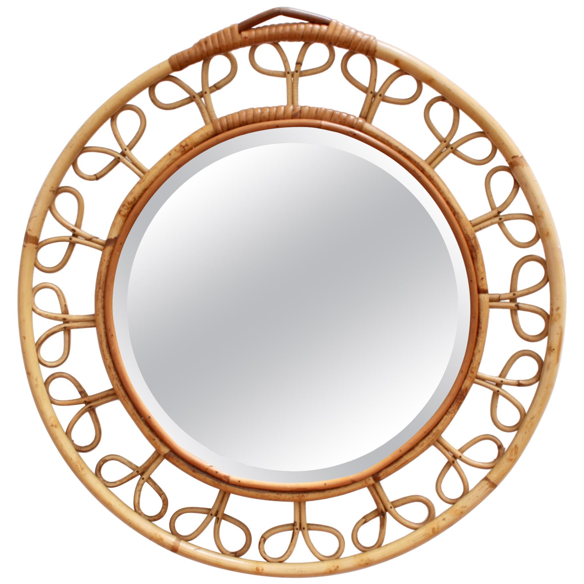 Midcentury French Rattan Wall Mirror, circa 1960s