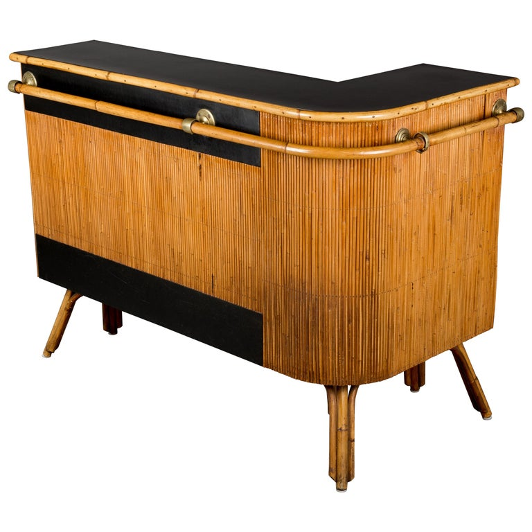 Midcentury French Riviera Bamboo And Rattan Bar For Sale
