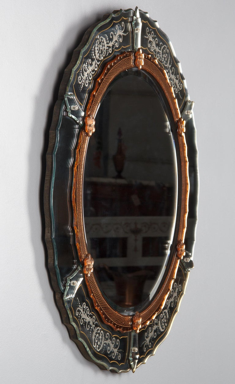 Midcentury French Round Venetian Mirror, 1950s For Sale 10