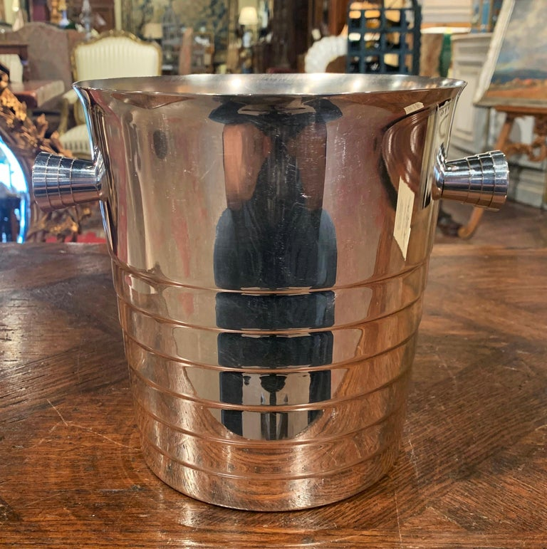Hand-Crafted Midcentury French Silver Plated over Brass Champagne Signed Christofle For Sale