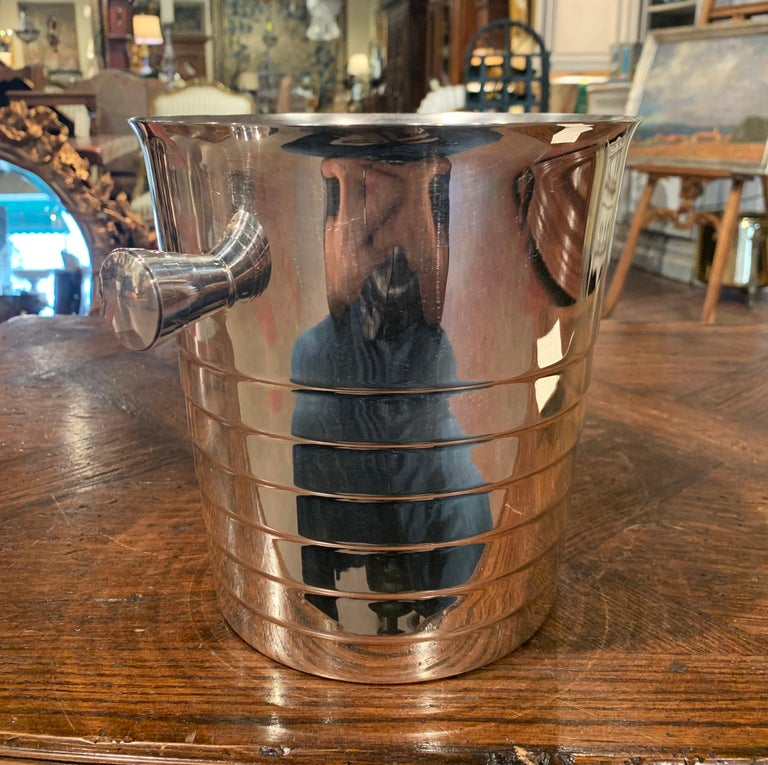 Midcentury French Silver Plated over Brass Champagne Signed Christofle In Excellent Condition For Sale In Dallas, TX