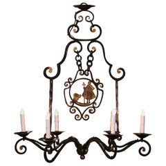 Mid-Century French Six-Light Iron Chandelier with Shepherdess and Sheep Decor