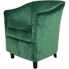 Midcentury French Small Club Chair / Armchair in Green Velvet, circa 1980