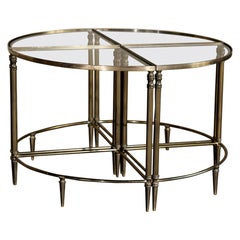 Midcentury French Solid Brass Sectional Coffee Table Set