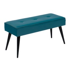 Midcentury French Teal Vinyl Bench