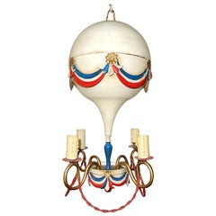 Midcentury French Tole Hot Air Balloon Chandelier