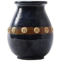 Midcentury French Vallarius Provincial Marine Blue Ceramic Vase