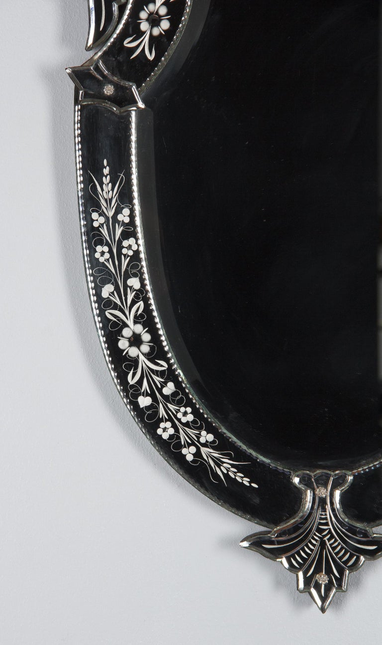 Midcentury French Venetian Glass Mirror For Sale 10