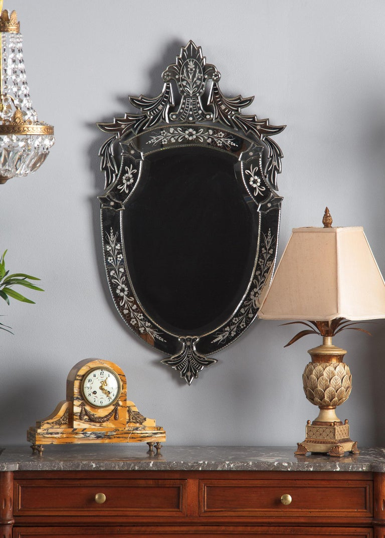 Midcentury French Venetian Glass Mirror For Sale 13