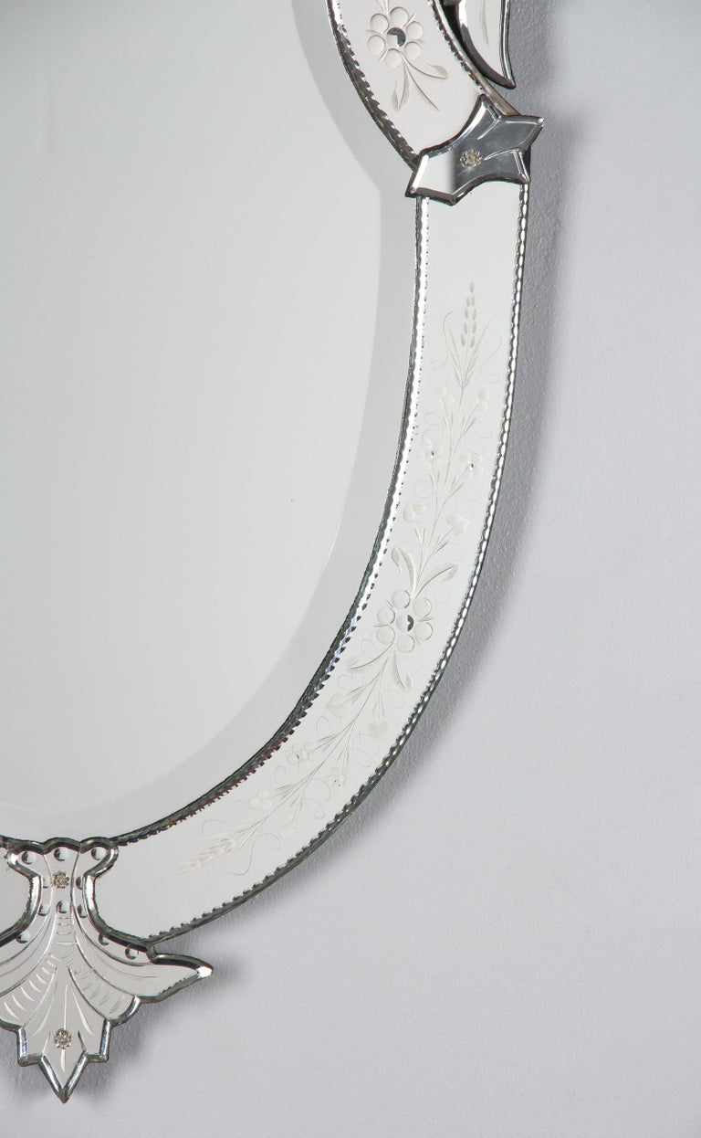 20th Century Midcentury French Venetian Glass Mirror For Sale